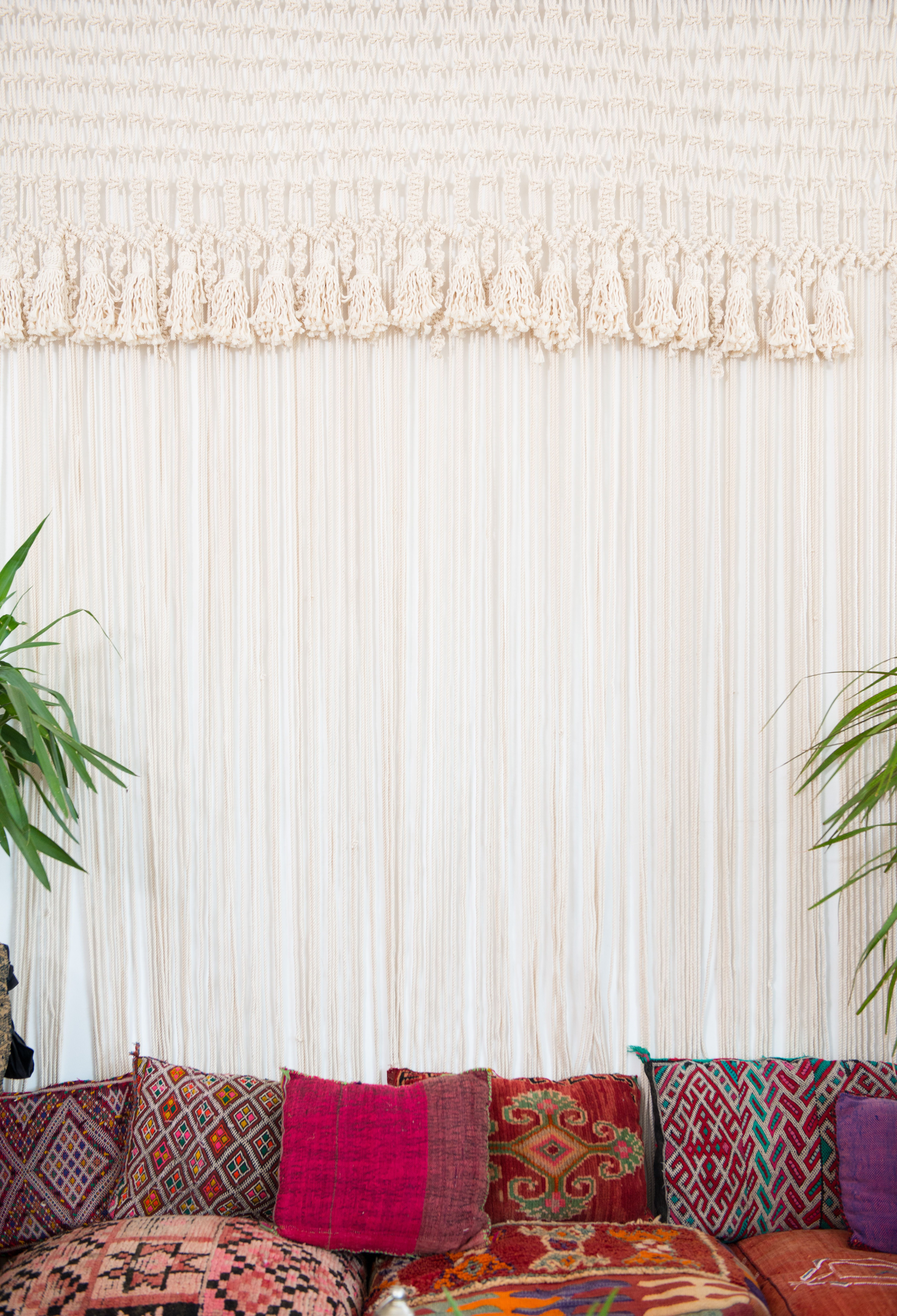 moroccan floor seating. Macrame Curtains, Moroccan Floor + Throw Pillows Make For An Easy Seating Area | Patina