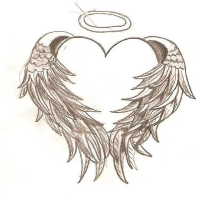 heart with wings and halo tattoo 20 wings tattoos u003c3 u003c3 tattoos rh pinterest ie angel wings with halo and name tattoo angel wings with halo and heart tattoo