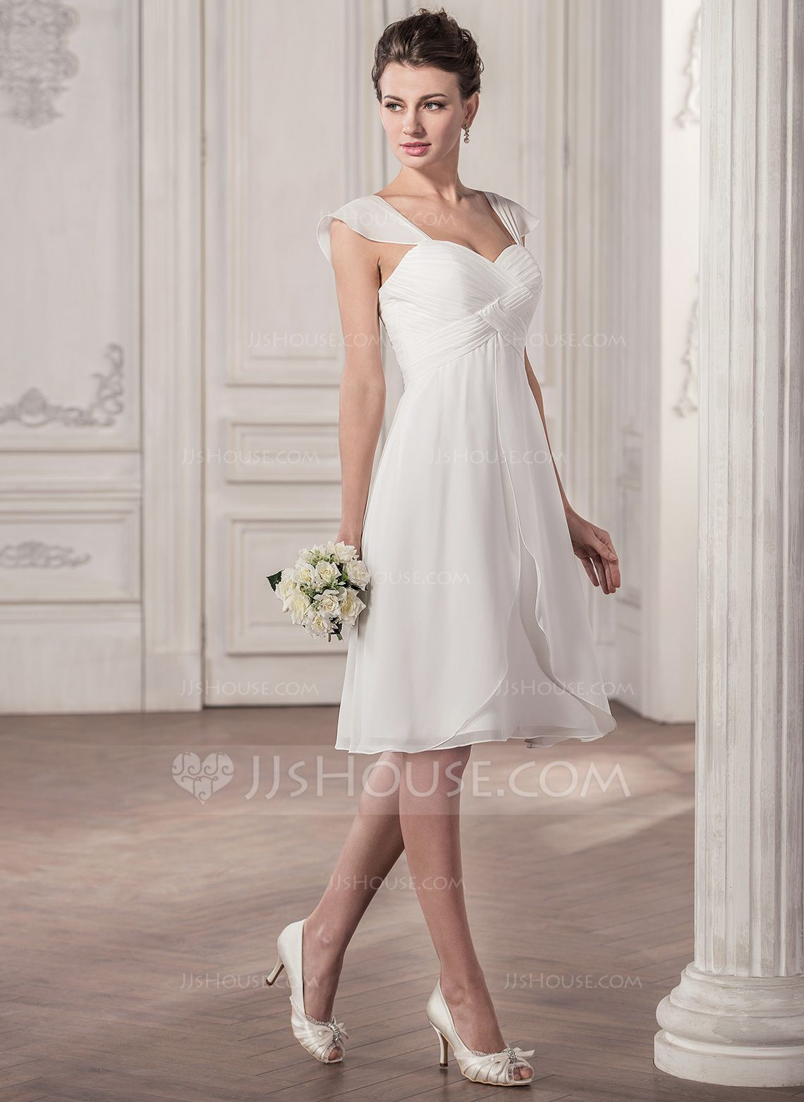 Cocktail dresses for wedding reception  ALinePrincess Sweetheart KneeLength Chiffon Wedding Dress With