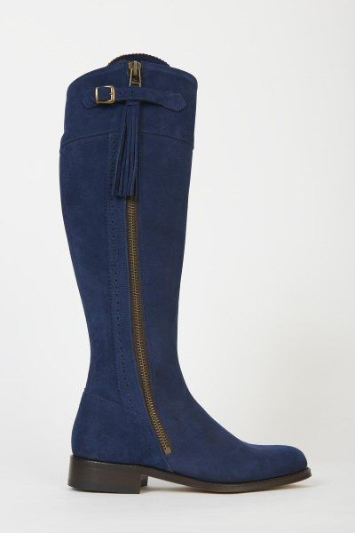 Spanish Riding Boots suede: Navy (leather sole) | Spanish, Riding ...