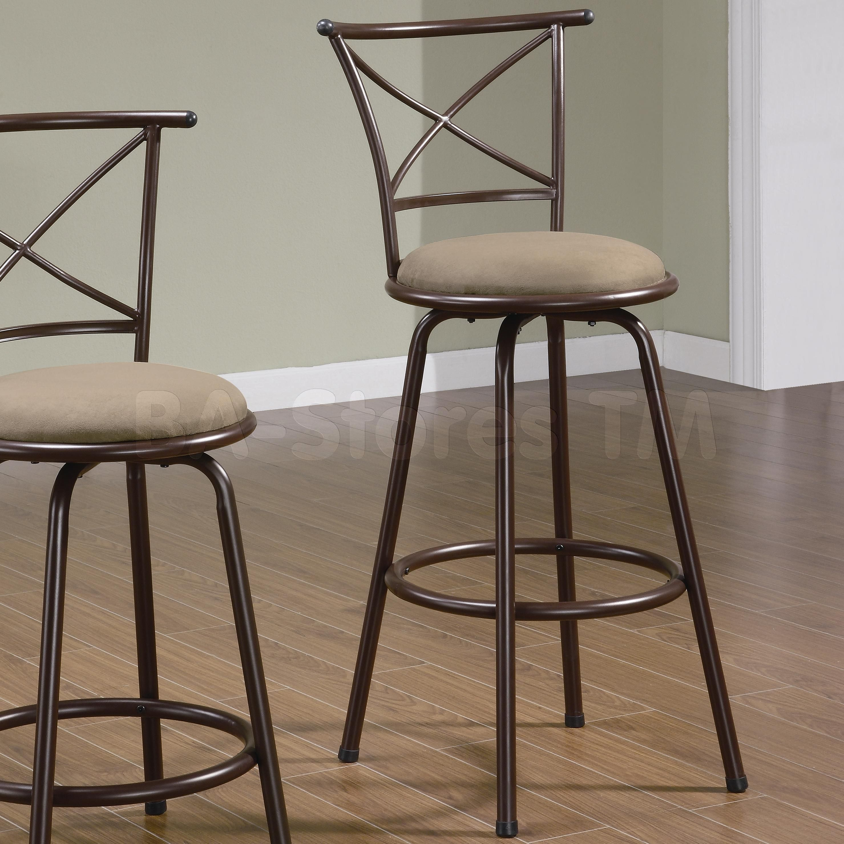 29 X Back Style Metal Bar Stools In Brown Set Of