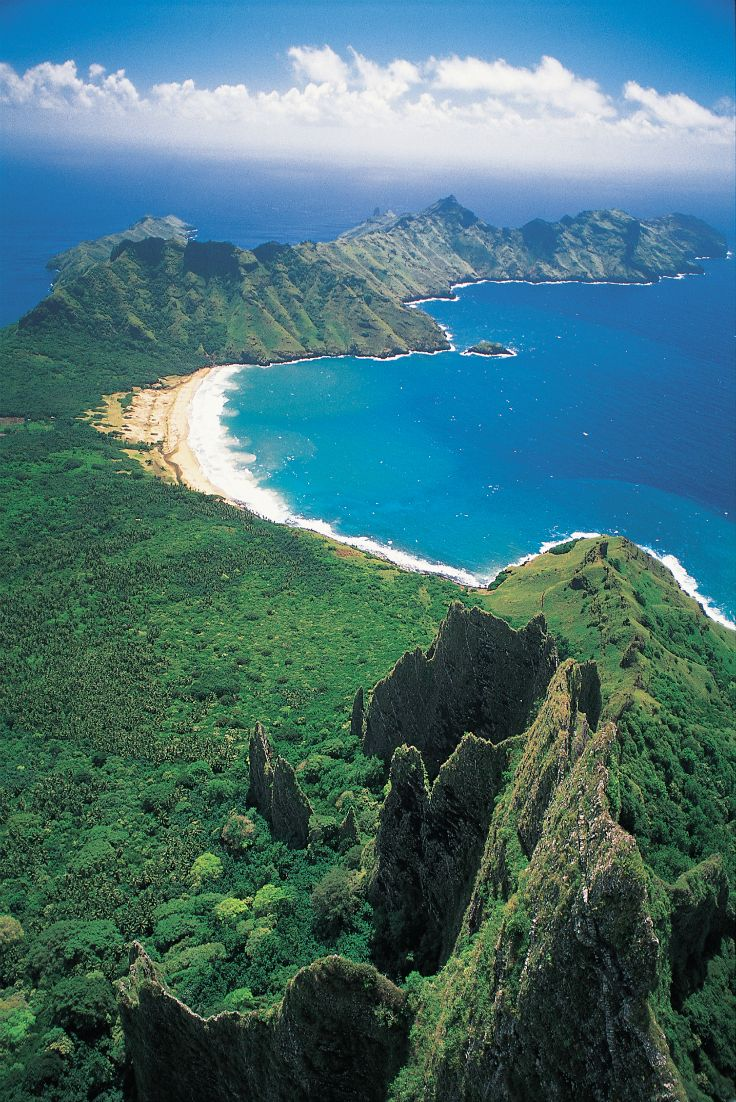 Aerial view on the bay of Haatuatua at Nuku Hiva, Marquesas Islands, French Polynesia. © P. Bacchet