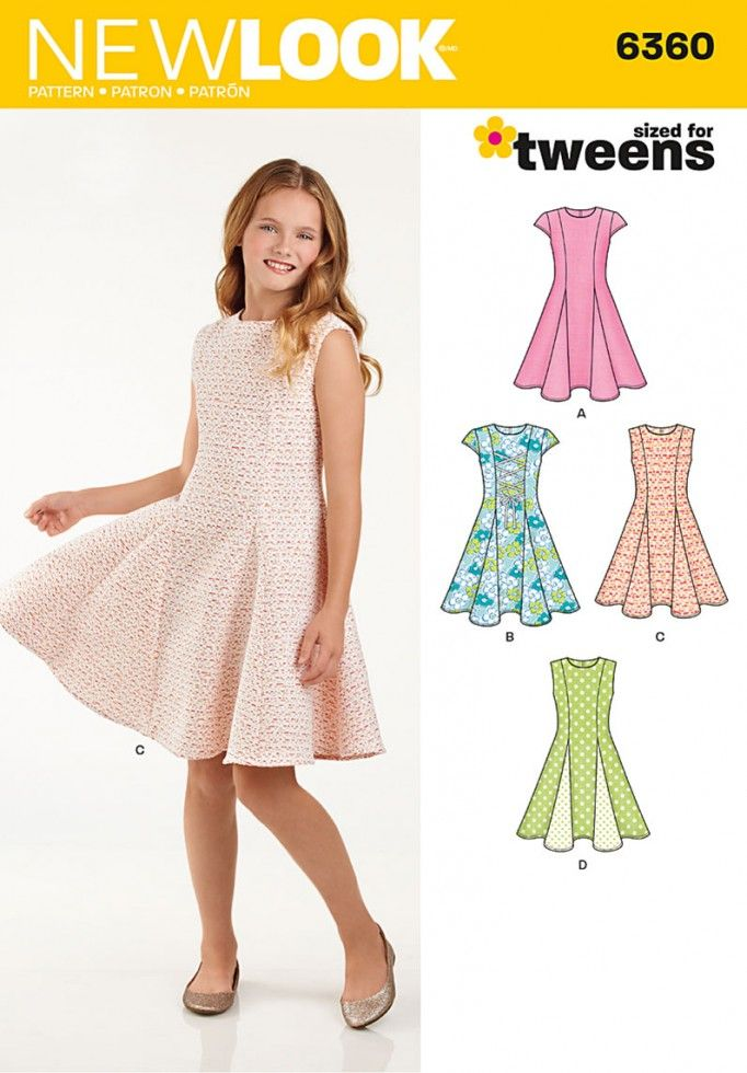 New Look Girls Sewing Pattern 6360 Fit & Flare Panelled Dresses ...