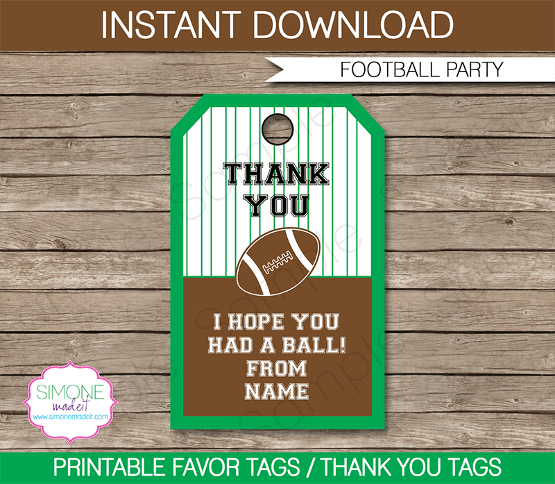 football party favor tags template
