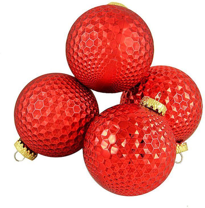 Asstd National Brand 4ct Red Prism Textured Shatterproof Christmas BallOrnaments 2.75 (70mm)