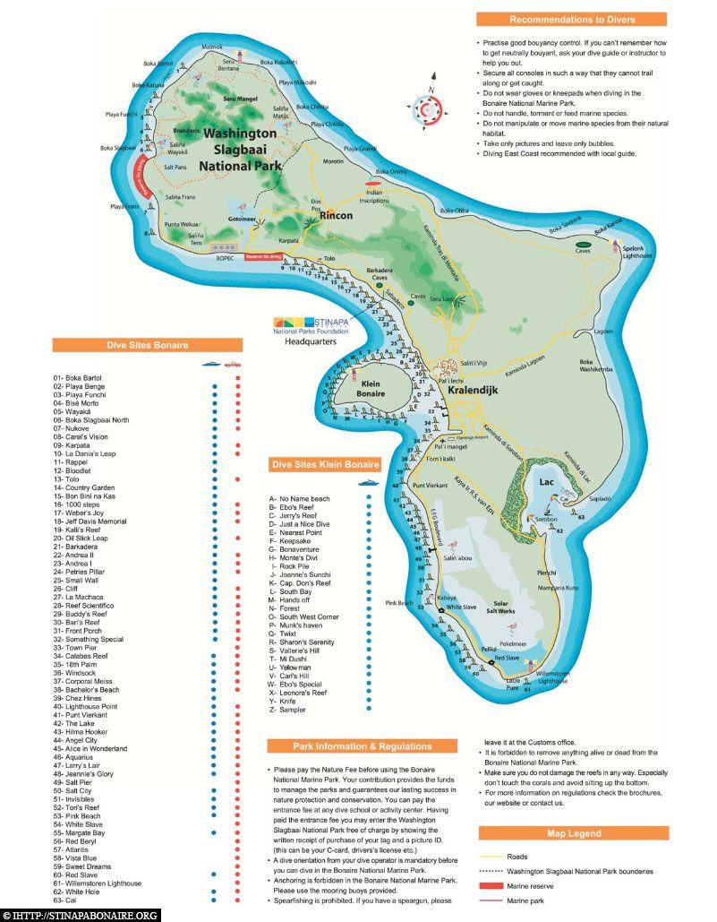 Bonaire - Eine Karte der Insel mit vielen Spots drauf