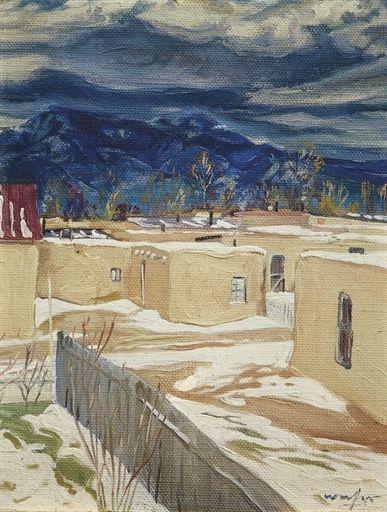 Pueblo of Taos by Victor Higgins   Paper Print Repro