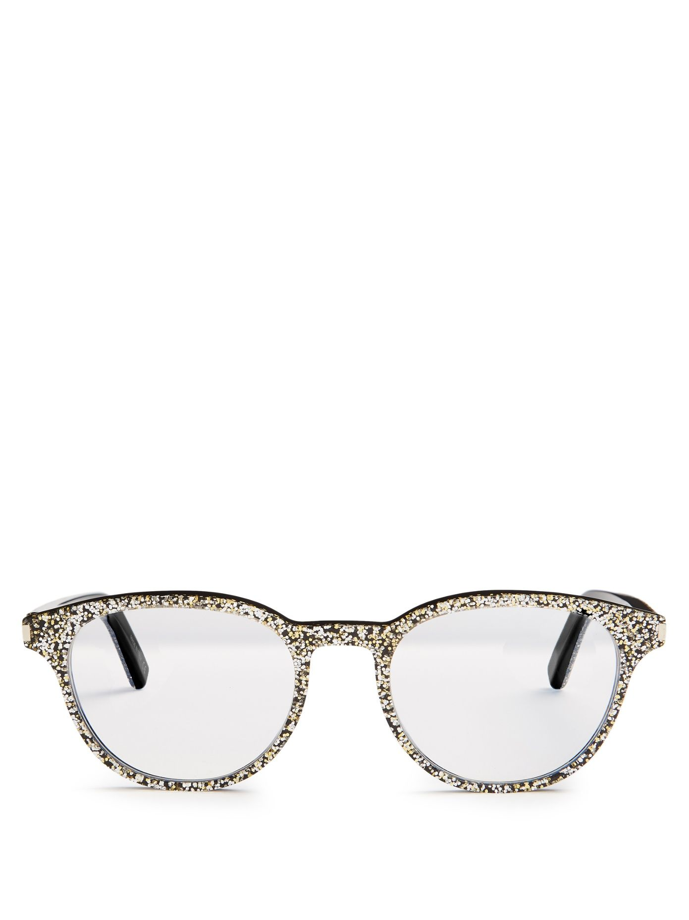 4a981d6103 Click here to buy Saint Laurent Round-frame glitter glasses at  MATCHESFASHION.COM