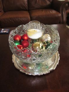 Punch Bowl Decorating Ideas I Like The Addition Of A Glass Candle