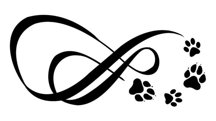 two infinity symbols with paw dog tattoos dog
