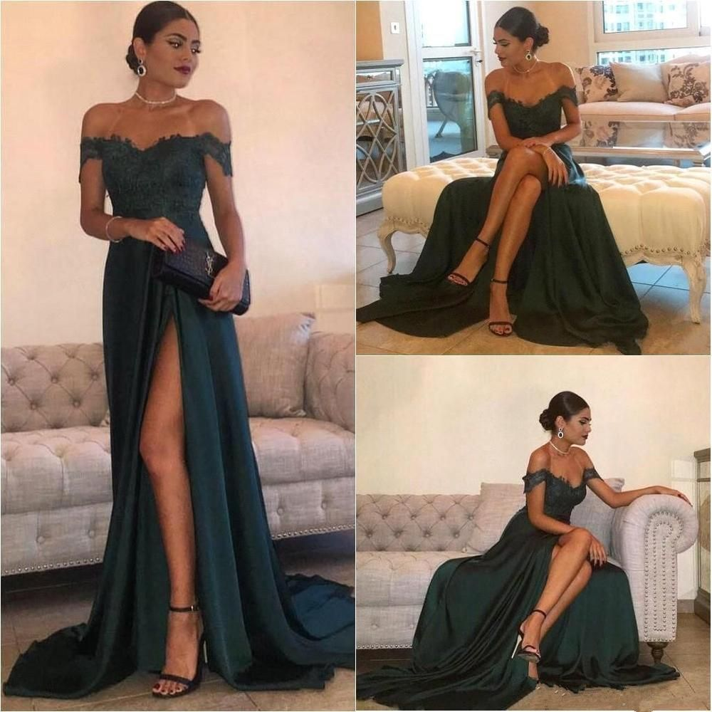 Dark green off shoulder sexy side slit fashion long evening prom