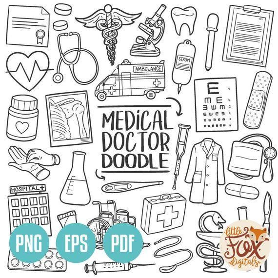 Doctor Doodle Icon Vector Hospital Medical Center Etsy Medical Drawings Line Art Design Medical Clip Art