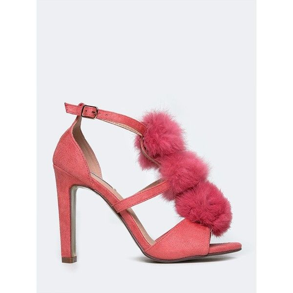 Cape Robbin Pom Pom T-Strap Sandal ($39) ❤ liked on Polyvore featuring shoes, sandals, pink, t bar shoes, t strap shoes, pink pom pom shoes, t strap high heel sandals and pink shoes