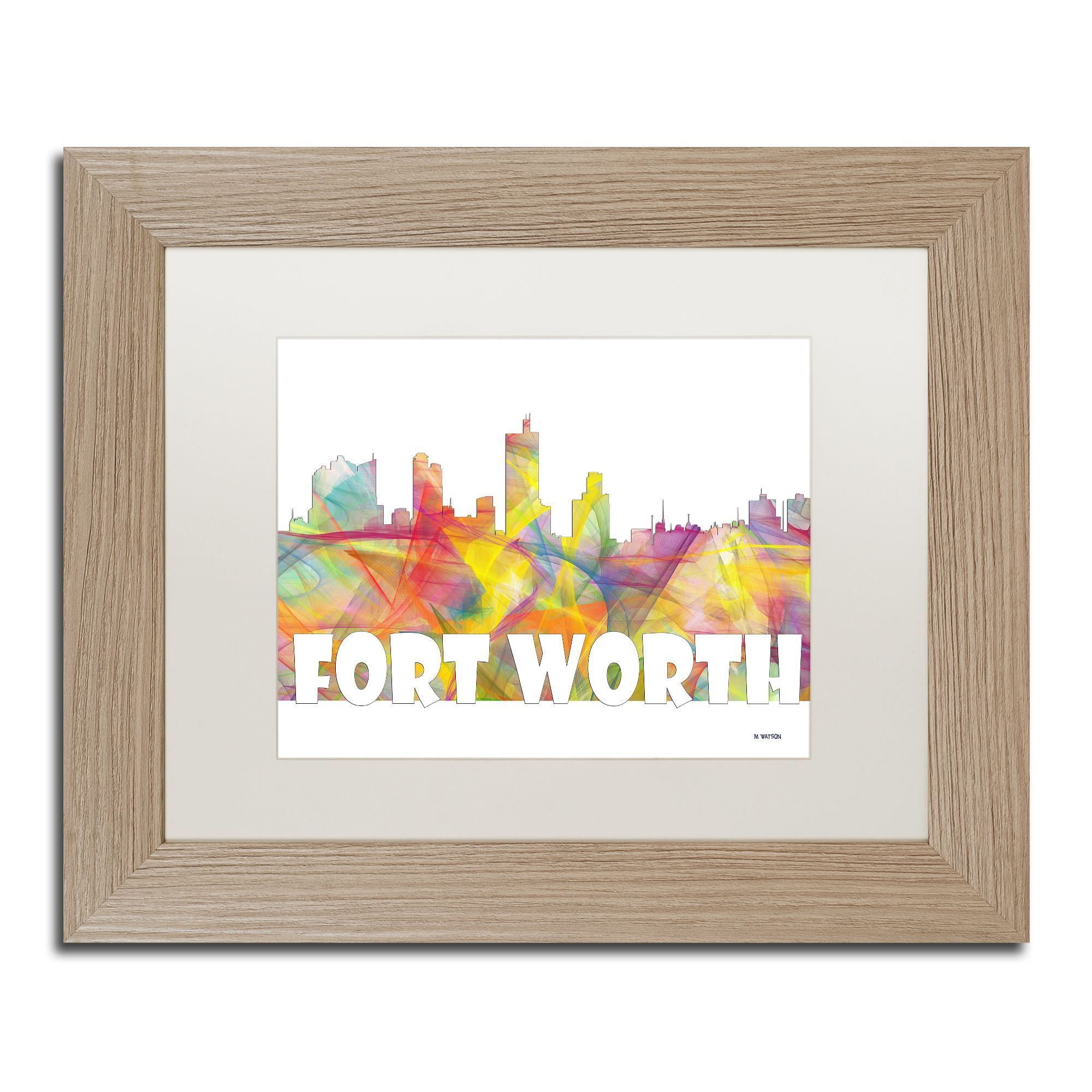 Marlene Watson \'Fort Worth Texas Skyline Mclr-2\' Matted Framed Art ...