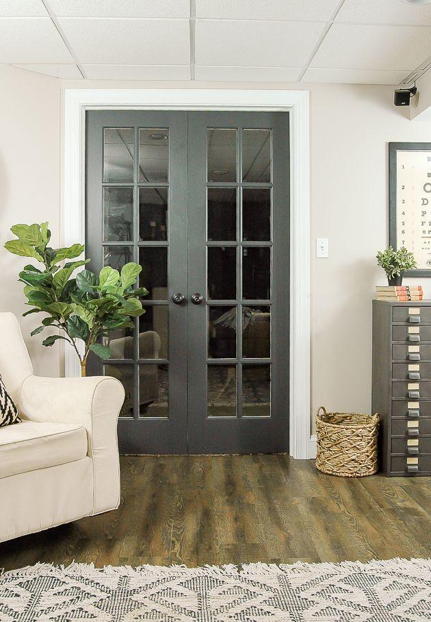 The Power Of Paint Dark Painted Interior French Doors Livingroom