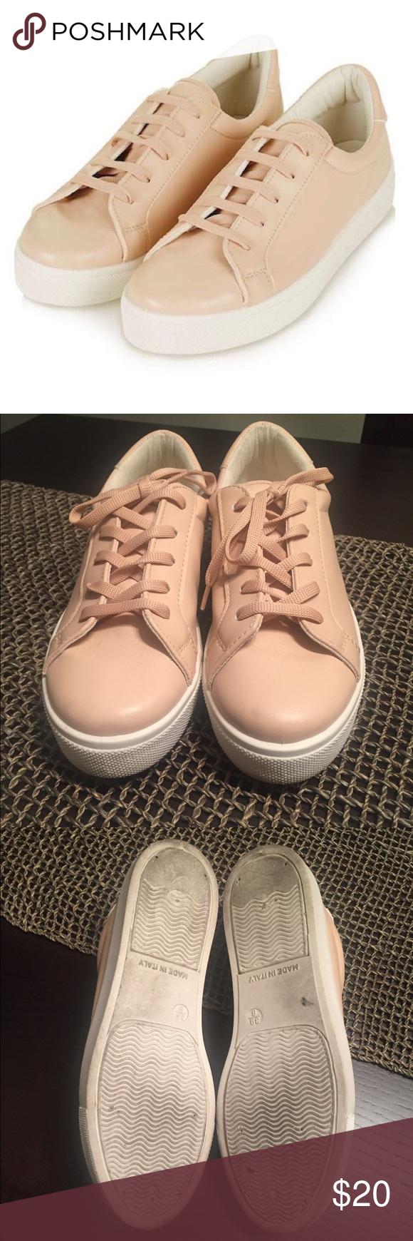Topshop Blush platform sneakers Blush color topshop faux leather sneakers Topshop Shoes Sneakers