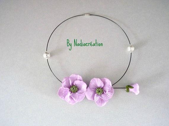Collier bouquet mauve lilas