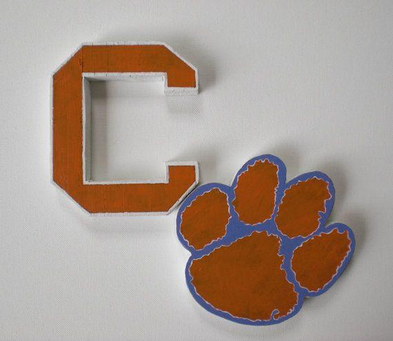 Wooden Clemson University  Tigers Logo by ConversationBits on Etsy