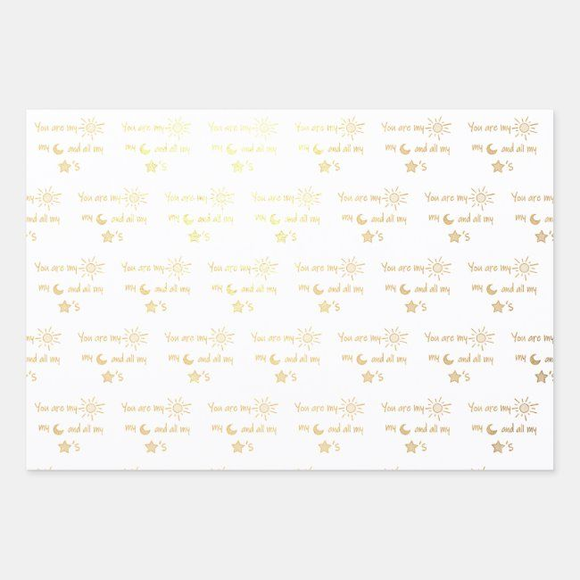 SunMoonandStars Foil Wrapping Paper Sheets