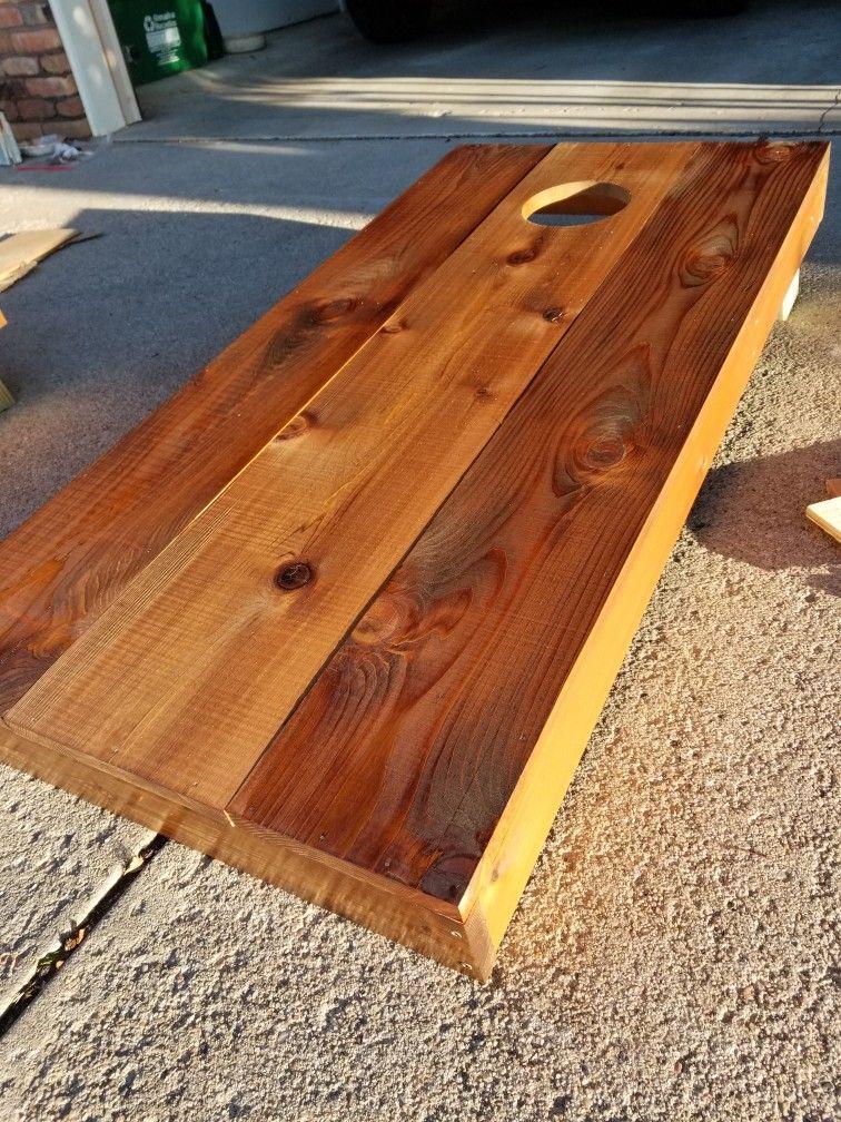Cedar Cornhole Boards With Dark Walnut And Medium Walnut