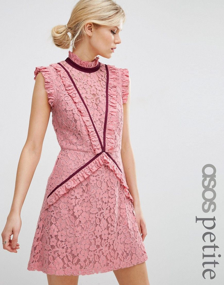 Image 1 of ASOS PETITE Lace Shift Dress with Ruffle Detail and ...