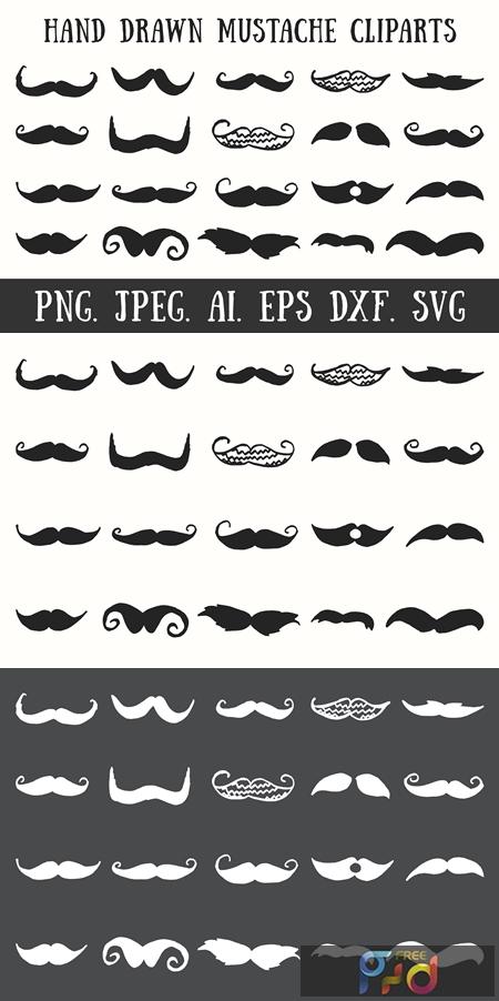 20 Handmade Mustache Cliparts FreePSDvn Free