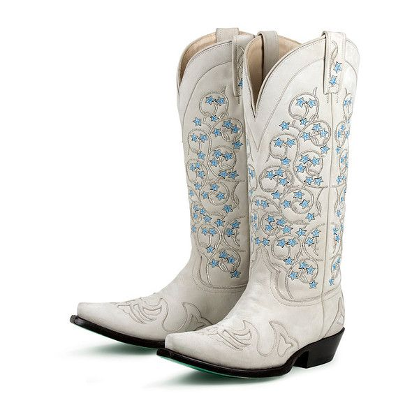 Nice White Boots For A Cowboy Wedding Even Has Something Blue
