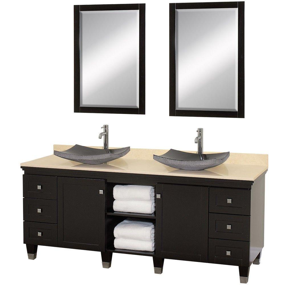 Dark Stainedwood Double Sink Bathroom Vanities  Decorating Gorgeous 72 Inch Bathroom Vanity Double Sink Inspiration Design
