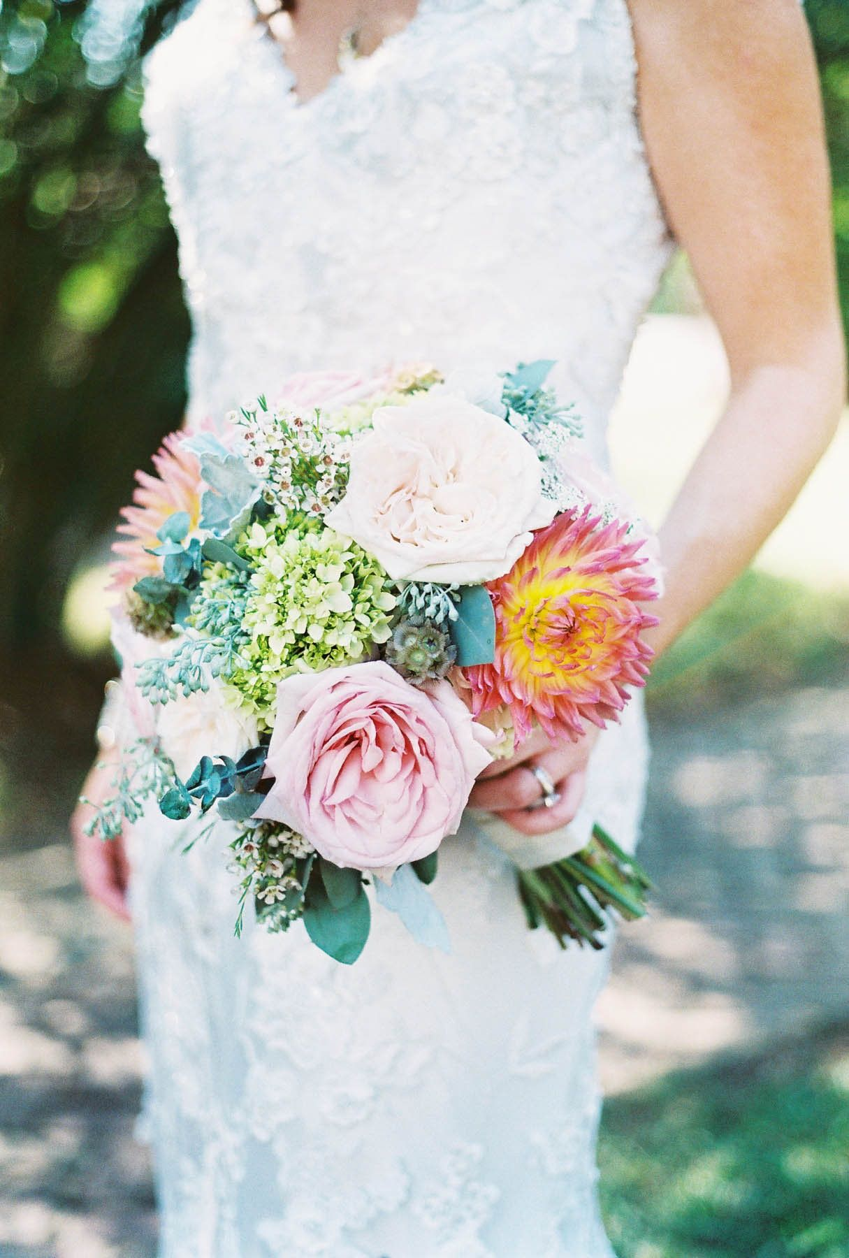 Bridal Bouquet with Pink Garden Roses, Dahlias, Hydrangea, Eucalyptus and more!