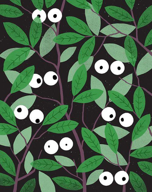 Foliage & eyes illustration