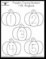 Pumpkin Number Tracing 125 Halloween preschool, Numbers