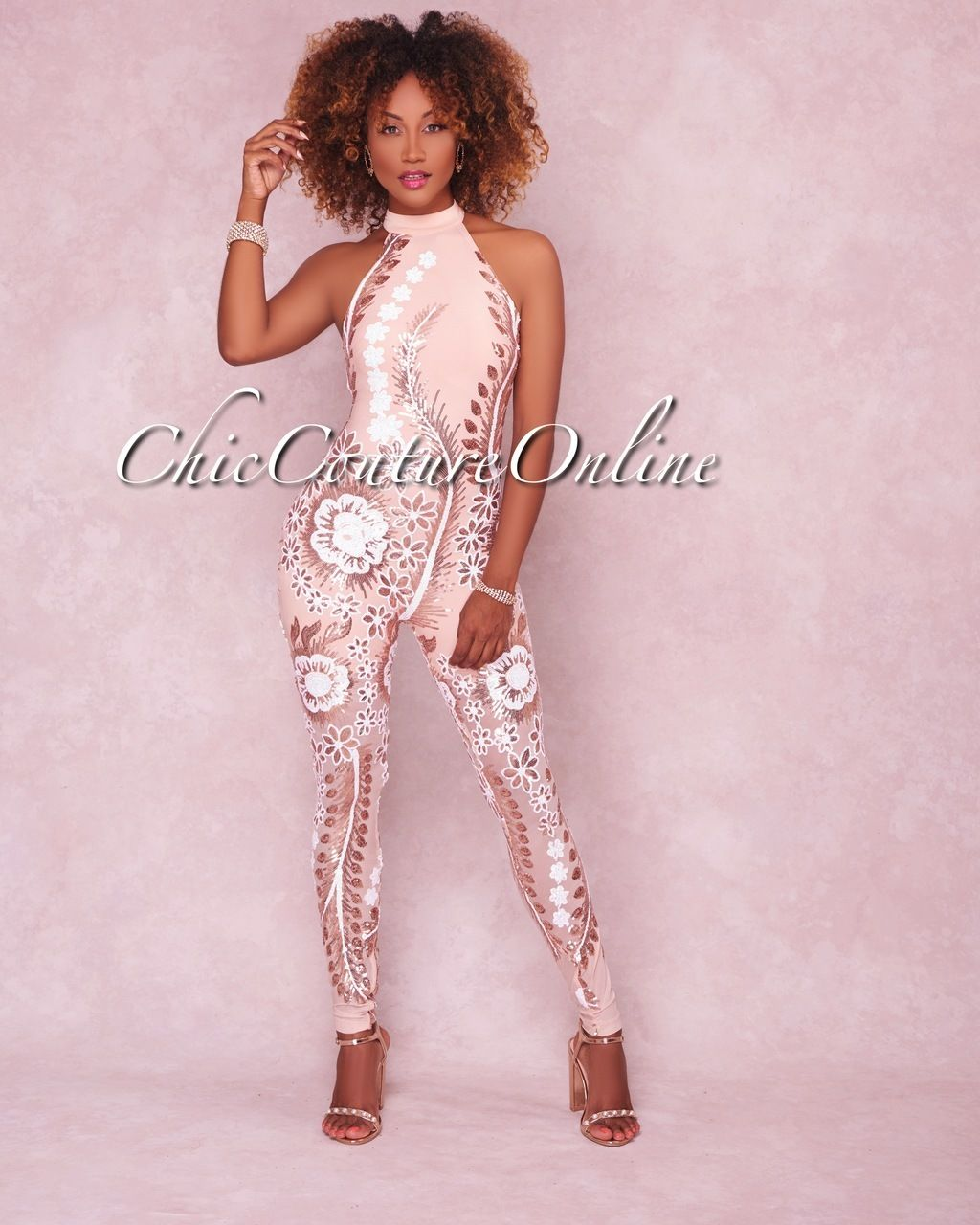 69ef92fd88f Chic Couture Online - Belice Rose Gold White Sequins Halter Jumpsuit
