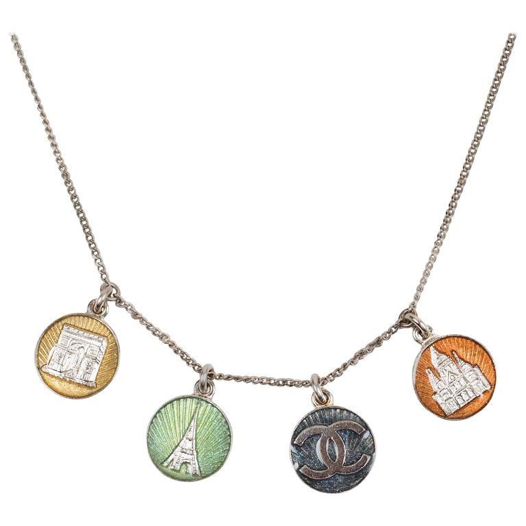 """Chanel Silver Tone Metal Multicolor Enamel """"CC"""" Logo Paris Charm Chain Necklace"""