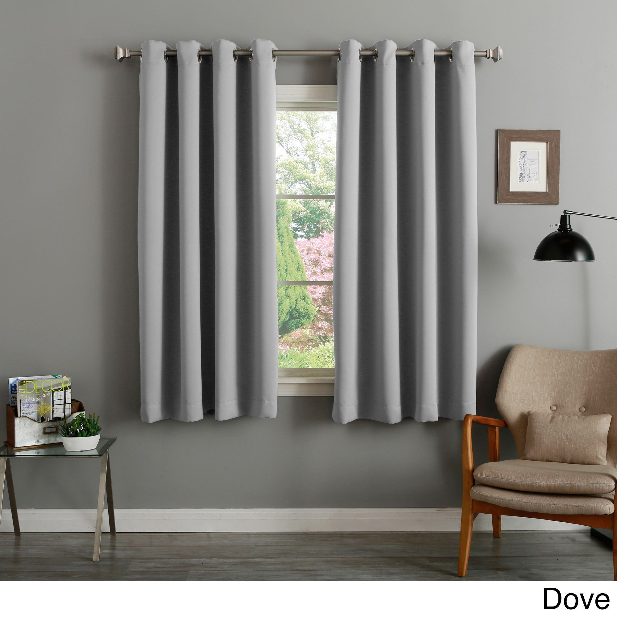 Aurora Home Silver Grommet Top 63 Inch Blackout Curtain Pair 52