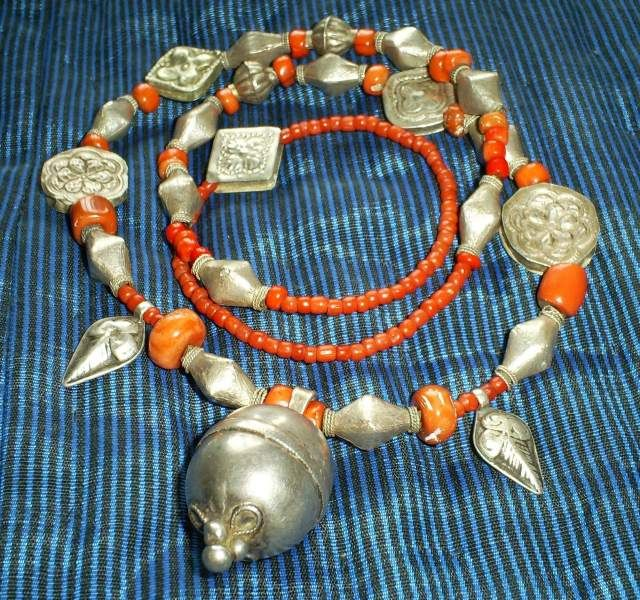 Afghan/ Turkmen Silver and Coral Bead Necklace.