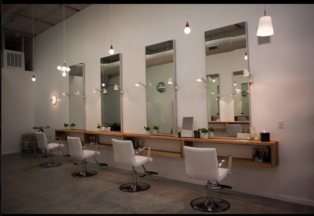 Simple White Chairs To Tie In With White Brick Wall Looks Fresh And Classy Nice With A Mix Of Salon Interior Design Hair Salon Interior Salon Suites Decor