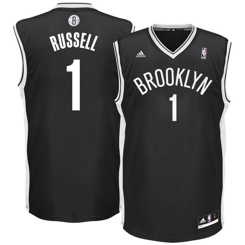 3d9a347ac41 D Angelo Russell Brooklyn Nets adidas Road Replica Jersey - Black ...