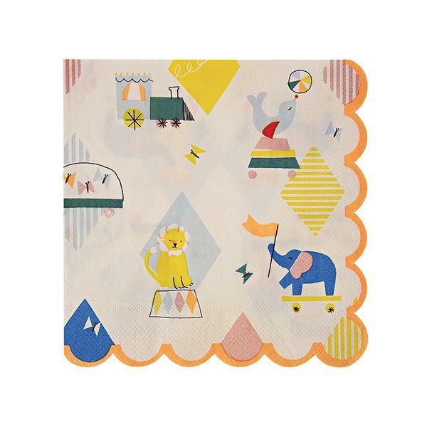 Diese süßen Servietten im Zirkus Design sind die perfekte Tischdekoration für eine Zirkus Kinderparty. Die Meri Meri - Servietten gross Silly Circus gibt es bei www.party-princess.de. Kindergeburtstag