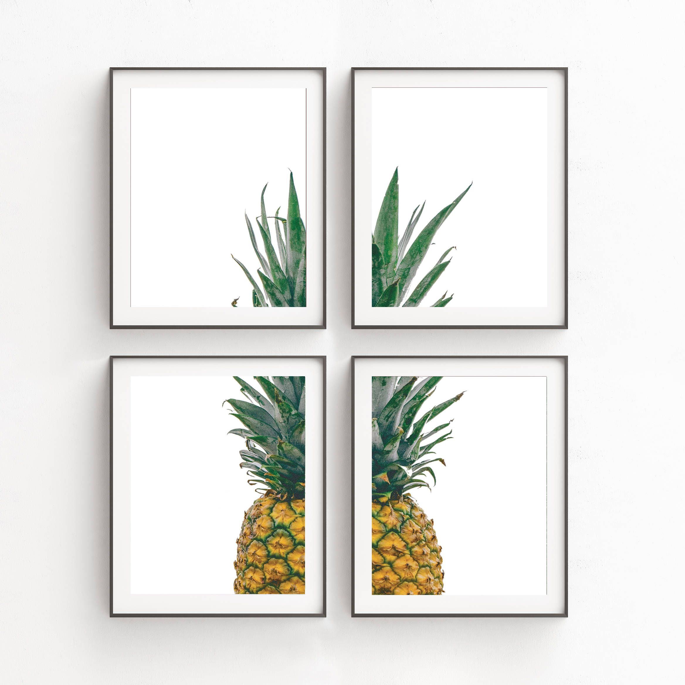 Delightful Kitchen Decor Print Sets Wall Art Set Of 4 Pineapple Set Gallery