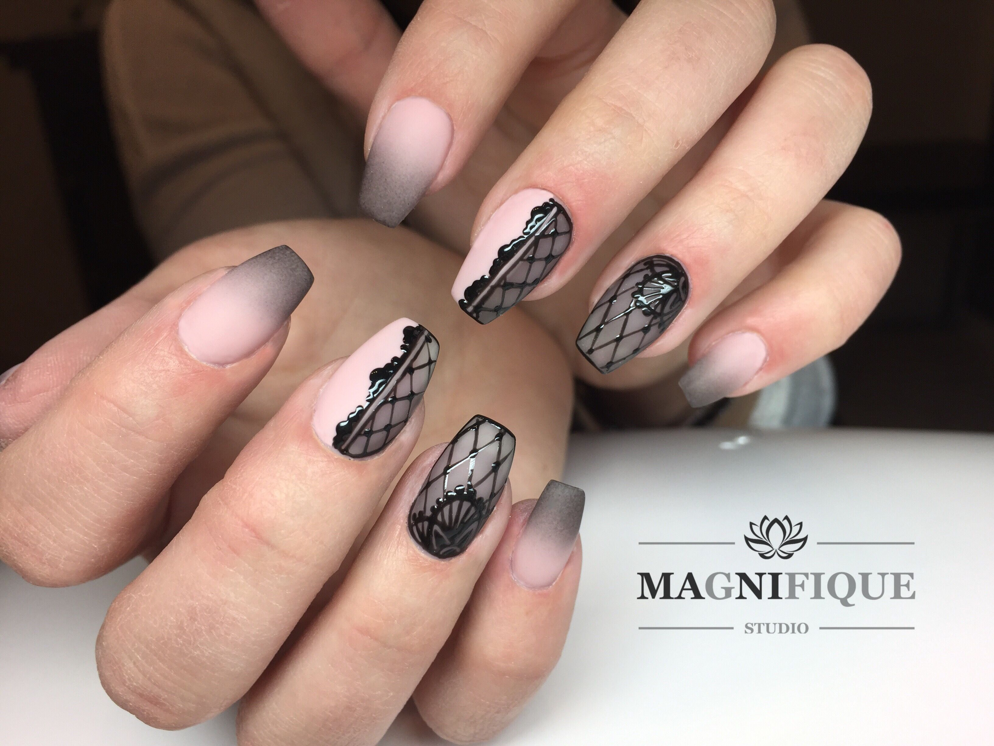 Ombre Nails Nail Art Design Black Lace Nails Lace Nail Art