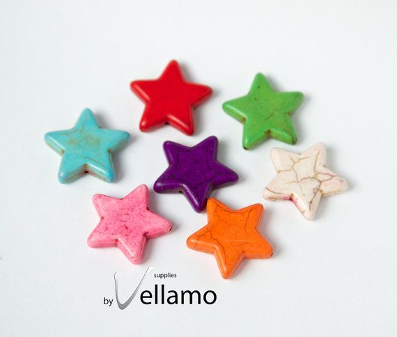 Colorful howlite turquoise star shaped beads by byvellamosupplies, $3.50