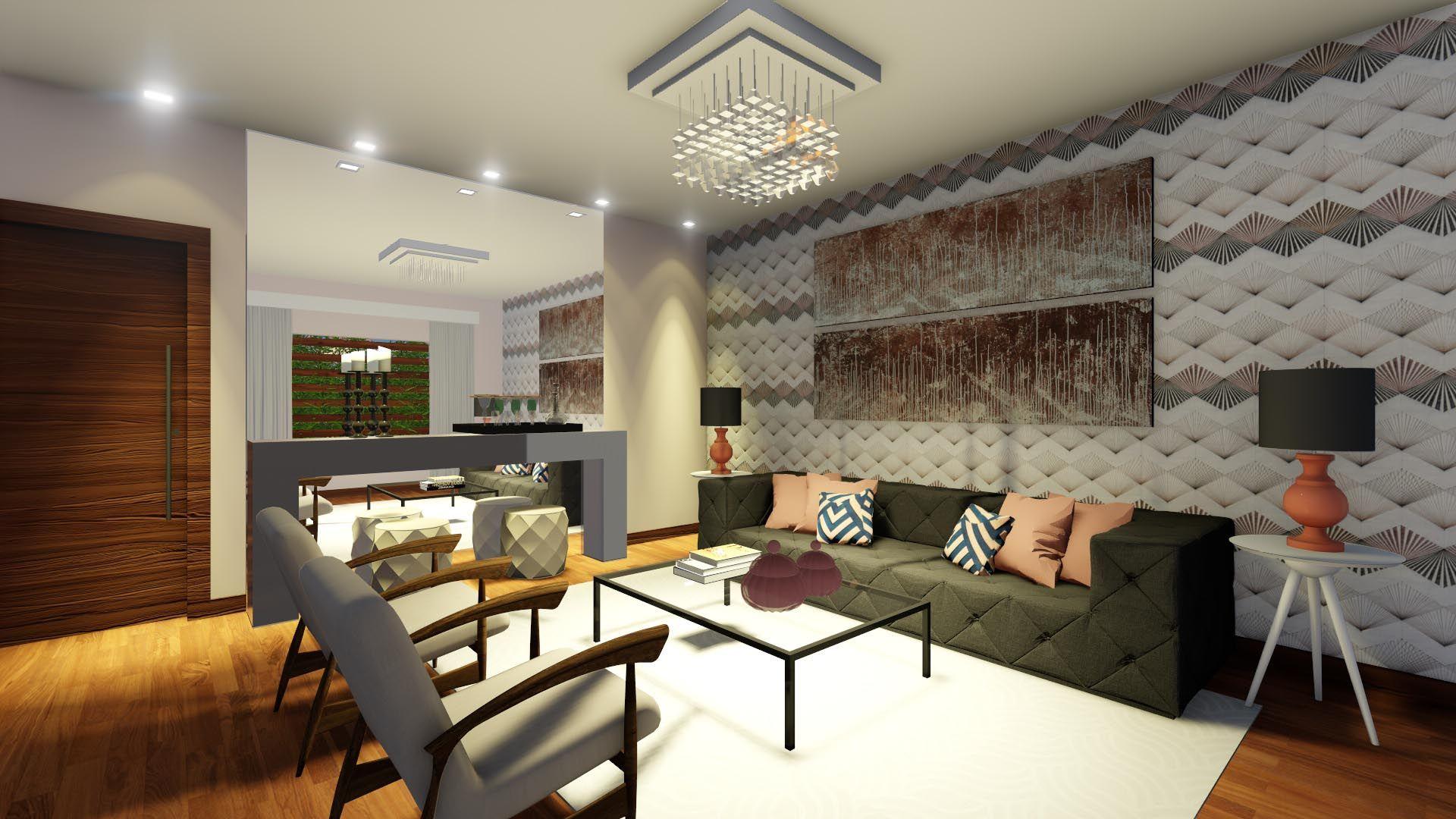 Sala de estar moderna. Projeto e Maquete -Suzana Ganem