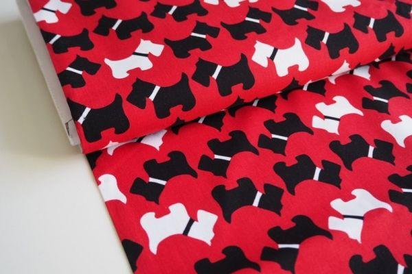 Baumwolle - Schnauzerparade rot-schwarz-weiß