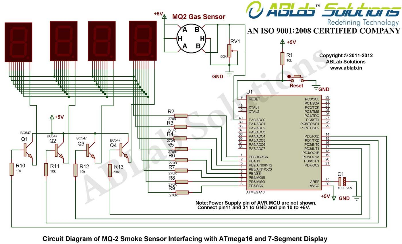 Mq 2 Smoke Sensor Interfacing With Avr Atmega16 Microcontroller And 7 Segment Decoder Circuit Diagram Display