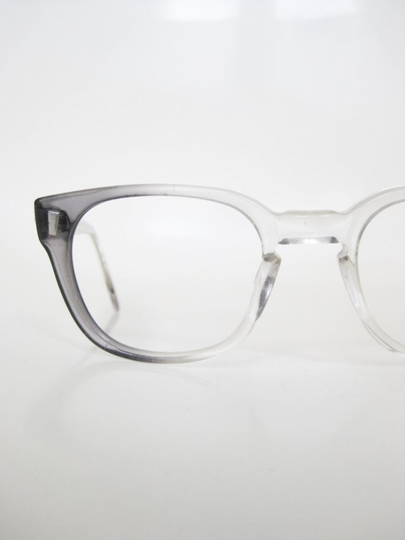 faa39ac14b6 Vintage Grey Horn Rim Eyeglasses Mid Century Mens Mod Mad Men Fashion 1960s  60s Sixties Smoke Grey F