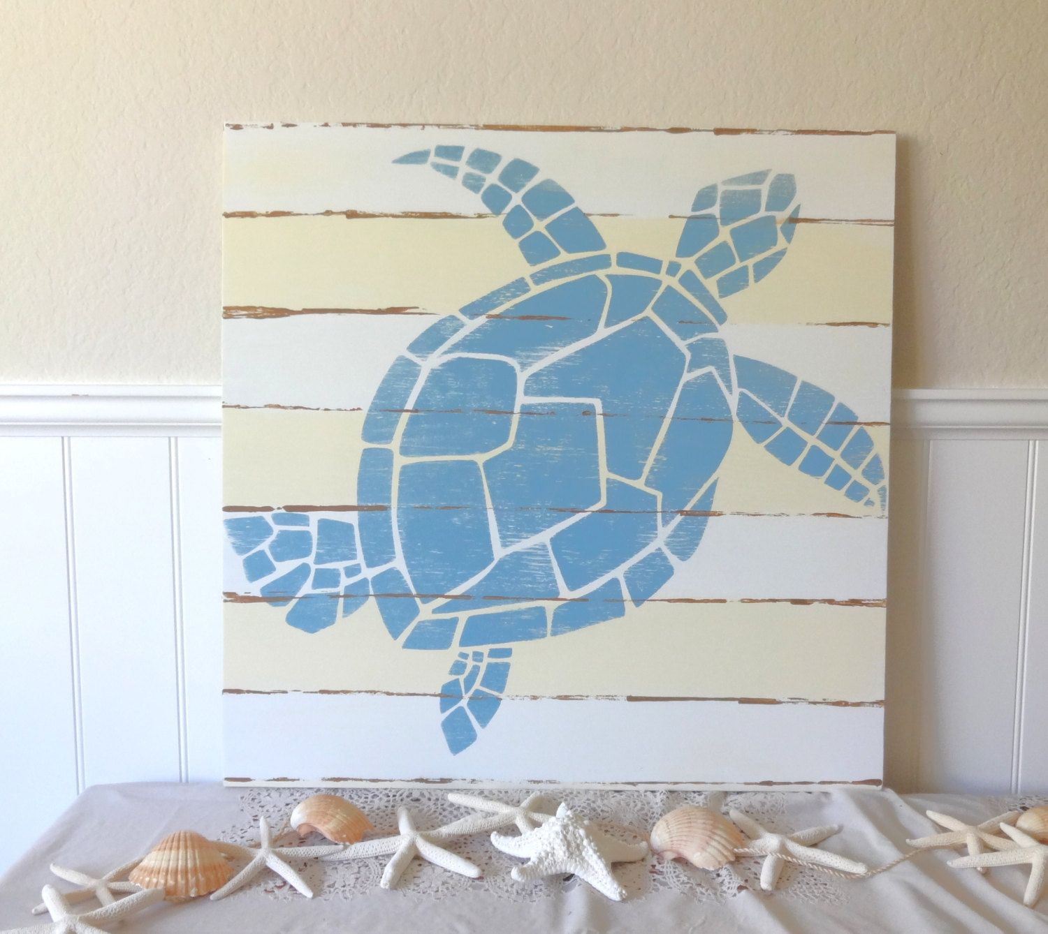 Nautical Handpainted Sea Turtle Sign 90 00 Via Etsy Teomac