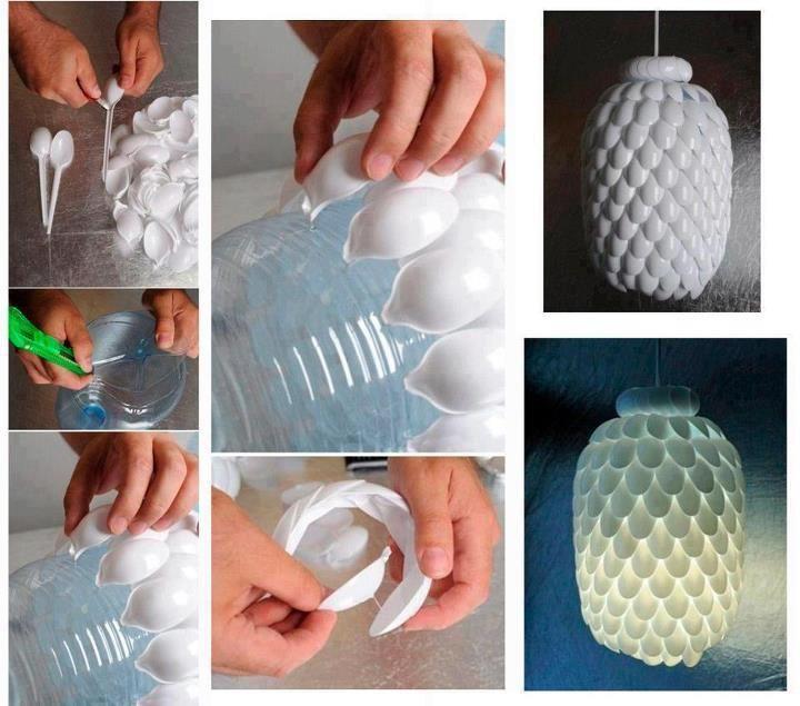 lampara de cucharas de plastico