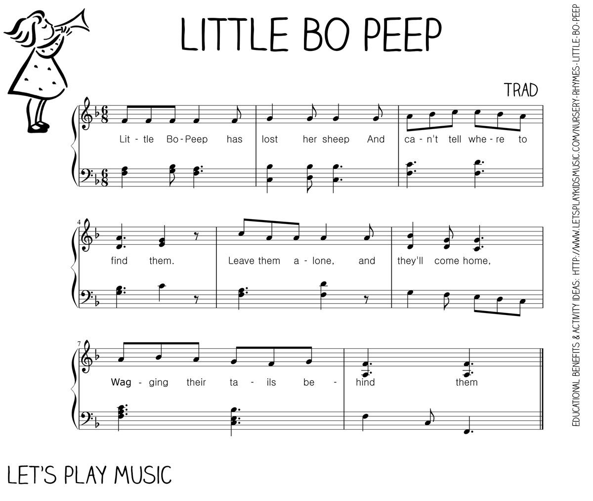 Let S Play Music Free Sheet Little Bo P Easy Piano