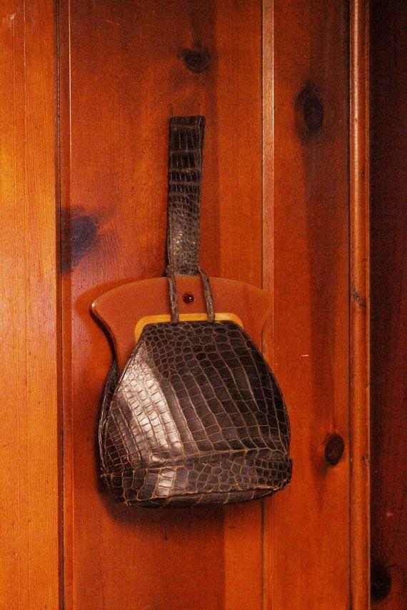 1940s alligator bakelite purse