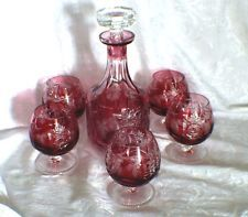 NACHTMANN TRAUBE AMETHYST CUT TO CLEAR CRYSTAL DECANTER & BRANDY SNIFFER GLASSES